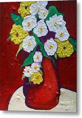 Red Vas With Yellow And White Flowers Metal Print by Alison Caltrider