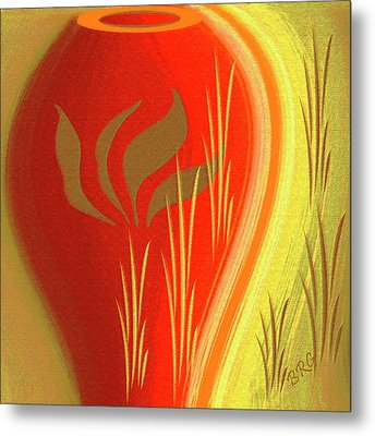 Red Vase Metal Print by Ben and Raisa Gertsberg