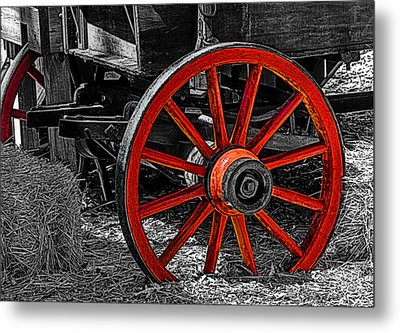 Red Wagon Wheel Metal Print by Jack Zulli