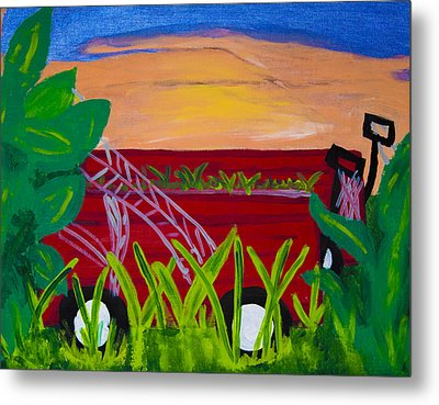 Red Wagons Metal Print by Melissa Dawn