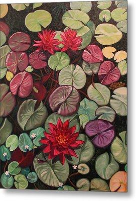 Red Water Lilies Metal Print