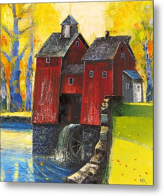 Red Watermill Metal Print