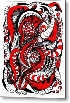 Red Wave Of Thoughts Metal Print by Kenal Louis