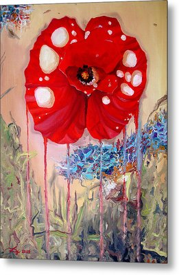 Metal Print featuring the painting Red Weed Red Poppy by Daniel Janda
