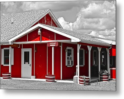 Red White And Black Metal Print by Frozen in Time Fine Art Photography