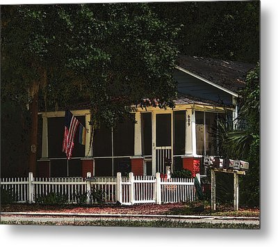 Metal Print featuring the photograph Red White And Blue Cottage by Laura Ragland