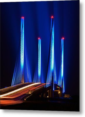 Red White And Blue Indian River Inlet Bridge Metal Print