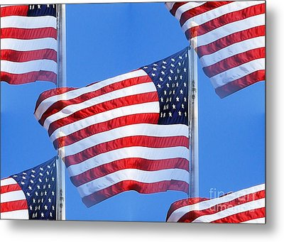 Red White And Blue Metal Print by Judy Palkimas