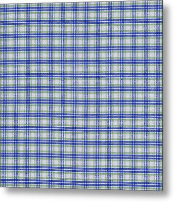 Red White And Blue Plaid Fabric Background Metal Print