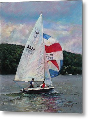 Metal Print featuring the drawing Red White And Blue Sailboat by Viola El