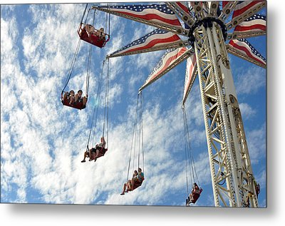 Red White And Blue Swings At Coney Island Metal Print