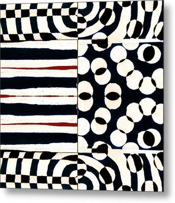 Red White Black Number 1 Metal Print by Carol Leigh