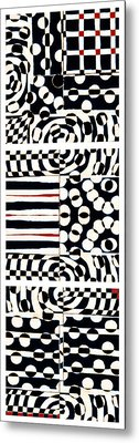 Red White Black Number 4 Metal Print by Carol Leigh
