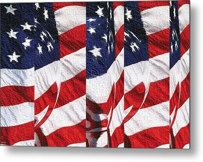 Red White Blue - American Stars And Stripes Metal Print by Art America Gallery Peter Potter