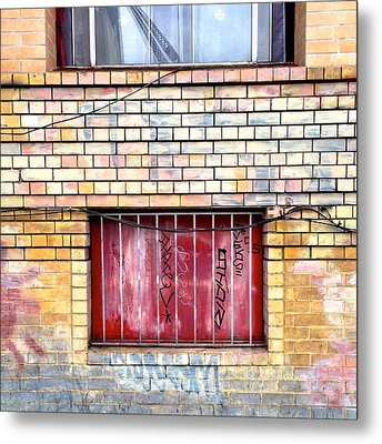 Red Window Metal Print by Julie Gebhardt