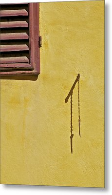 Red Window Shutter Of Tuscany Metal Print