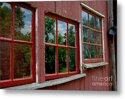 Metal Print featuring the photograph Red Windows Paned by Christiane Hellner-OBrien