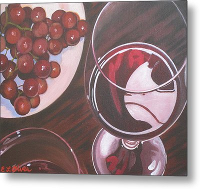 Red Wine And Grapes Metal Print by Elisabeth Olver