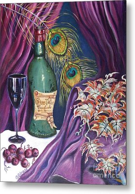 Red Wine And Peacock Feathers Metal Print by Caroline Street