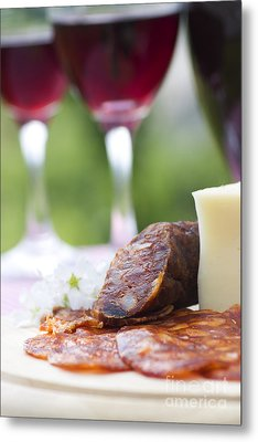 Red Wine And Sausage With Cheese Metal Print by Mythja  Photography