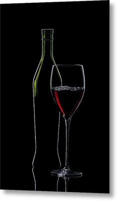 Red Wine Bottle And Wineglass Silhouette Metal Print by Alex Sukonkin