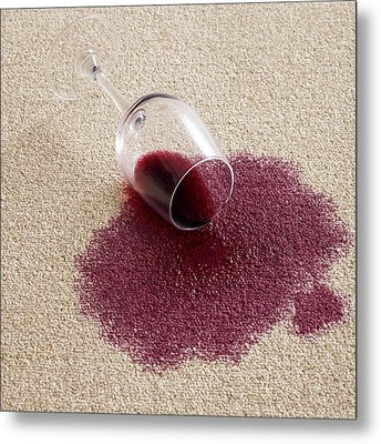 Red Wine On Carpet Metal Print by Science Photo Library