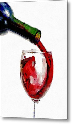 Red Wine Pouring Metal Print