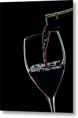 Red Wine Pouring Into Wineglass Splash Silhouette Metal Print by Alex Sukonkin