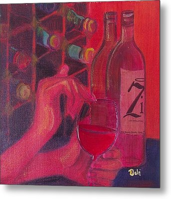 Red Wine Room Metal Print by Debi Starr