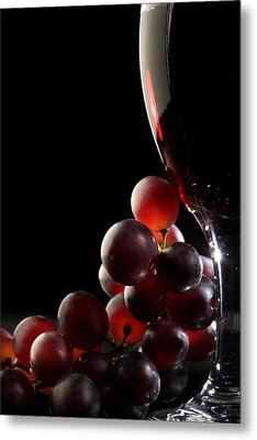 Red Wine With Grapes Metal Print