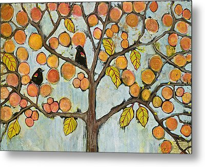 Red Winged Black Birds In A Tree Metal Print by Blenda Studio