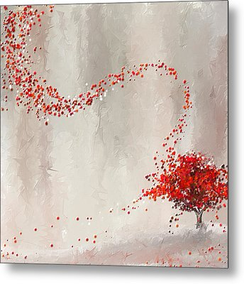 Red Winter Metal Print by Lourry Legarde