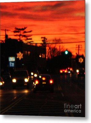 Red Winter Sunset Over Long Island Suburbs Metal Print by John Telfer