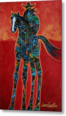 Metal Print featuring the painting Red With Rope by Lance Headlee