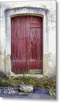 Red Wood Door Of The Medieval Village Of Pombal Metal Print by David Letts