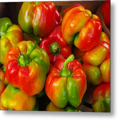 Red-yellow-green Peppers Metal Print by John Ayo