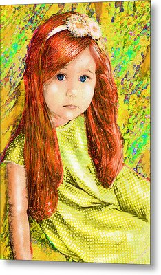 Metal Print featuring the digital art Redhead by Jane Schnetlage