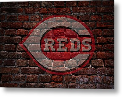 Reds Baseball Graffiti On Brick  Metal Print by Movie Poster Prints
