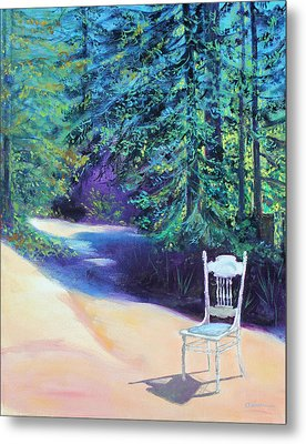 Metal Print featuring the painting Redwood Path And White Chair by Asha Carolyn Young