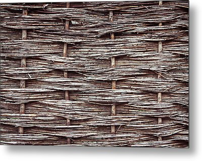 Reed Fence Metal Print by Tom Gowanlock