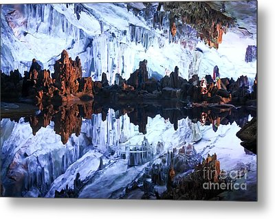 Reed Flute Cave Guillin China Metal Print by Thomas Marchessault