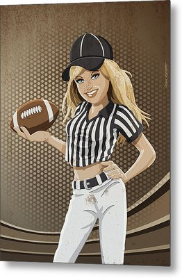 Referee American Football Girl Grunge Color Metal Print by Frank Ramspott