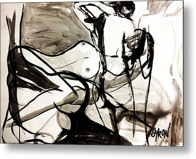 Metal Print featuring the drawing Reflect by Helen Syron