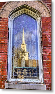 Reflected Steeple Metal Print by Rebecca Hiatt