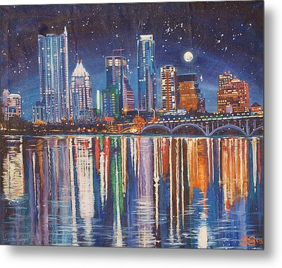 Reflecting Austin Metal Print by Suzanne King