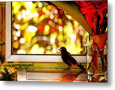 Reflecting On Beauty Metal Print by Peggy Collins