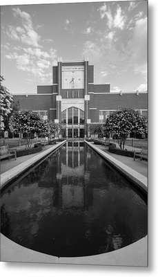 Reflecting Pond Outside Of Oklahoma Memorial Stadium Metal Print