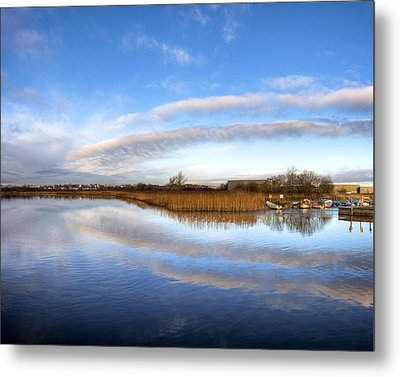 Reflecting Skies On The River Corrib In Galway Metal Print by Mark E Tisdale
