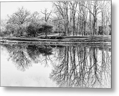 Reflection In Black And White Metal Print by Julie Palencia