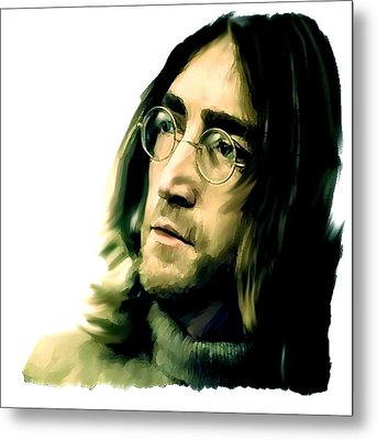 Reflection John Lennon Metal Print by Iconic Images Art Gallery David Pucciarelli